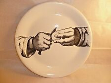 Ceramic Plate Gustavsberg Hands Peeling Potatoes Black and White Made in Sweden