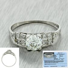 1920s Antique Art Deco Platinum .77ct Diamond Fish Tail Engagement Ring EGL