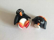 Edible Christmas Skating Penguins Cake Topper Icing Decoration