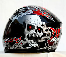 MASEI 816 BLACK SKULL FULL FACE MOTORCYCLE BIKE CHOPPER NFL NHL RUBY AGV HELMET