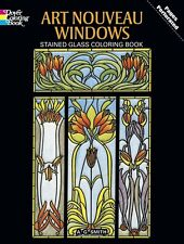Stained Glass Windows Adult Colouring Book Art Nouveau Therapy Creative Relaxing