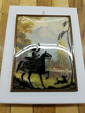 Victorian LADY RIDING HORSE Silhouette Convex Bubble Glass Rev Painted Picture