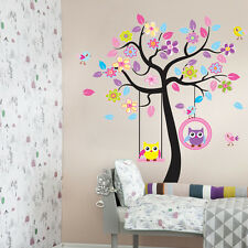 Home Removable Cartoon The Owl And Tree Wall Sticker Wallpaper Room Decal Decor