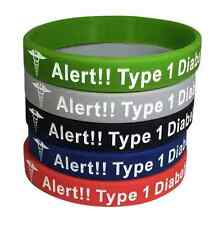Diabetes Bracelet Medical ID  Rubber Type 1 Insulin Dependent (Set Of 5)
