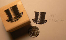 "P15 Top hat rubber stamp 1x1"" WM NEW"