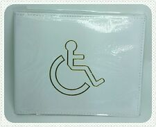 Disabled White Parking Badge Holder Protector Cover Wallet PU Leather New!