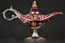 China Handwork Miao Silver & Red Cloisonne Carved Flower & Leaf Latin Lamp