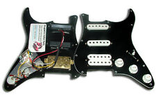 Dragonfire Prewired-Loaded  Strat Pickguard HSS, 3 ply Black with White Pickups