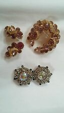 FABULOUS Vtg HOBE' GLASS RHINESTONE  BROOCH & EARRING SET pin