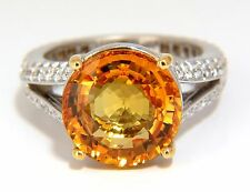 $15500 GIA 8.95CT NATURAL ORANGE YELLOW ROUND SAPPHIRE DIAMOND RING 18KT SPLIT