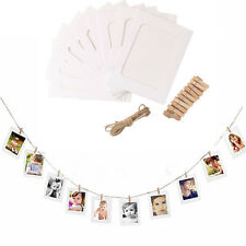 10 Set Paper Photo Wall Picture Hanging Frame Album Rope Clip Home Decor white