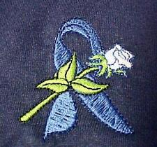 Blue Ribbon Sweatshirt S White Rose Navy Cancer Awareness Crew Neck Unisex New