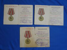 set 3 soviet doc certificate for medal 30 years Soviet Army and fleet NAVY USSR