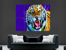 TIGER ABSTRACT BRIGHT WILD  WALL POSTER ART PICTURE PRINT LARGE HUGE