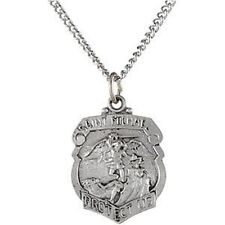 """MRT St Michael Police Badge STERLING Silver Small Pendant Medal Necklace 3/8"""""""