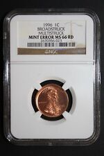 1996 LINCOLN CENT BROADSTRUCK MULTIPLE STRIKES GREAT NGC MS66 RED SHARP ERROR!!