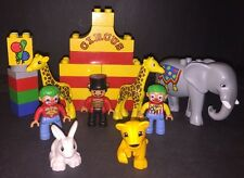 Lego Duplo Circus Ring Master 2 Clowns Circus Elephant 2 Graffes Baby Lion Bunny