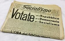 "Vecchio QUOTIDIANO ""SOCIALISMO"" Liguria 19/5/1949 Repubblica - Monarchia PERTINI"