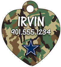 Dallas Cowboys Camo Dog Tag Cat Tag Pet ID Personalized w/ Name & Number