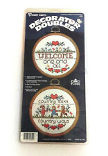 VTG Vogart Decorator Doubles Counted Cross Stitch Welcome Country Folk 2058 NEW