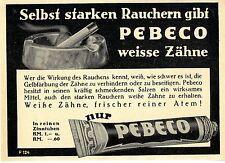 Selbst starken Rauchern gibt Pebeco weisse Zähne in reinen Zinntuben von 1930