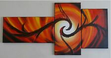 "Hand Painted Red Orange Sun Swirl Oil Painting Wall Decor Canvas "" FRAMED"""