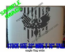 "36"" Distressed American Flag With Eagle hood decal (wide version) fits Jeep & ot"