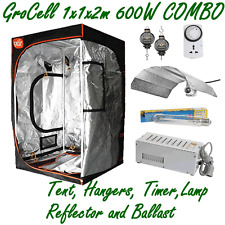 1x1x2m GROW TENT + 600W HPS LAMP BALLAST REFLECTOR + HANGERS & TIMER