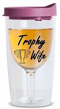 Trophy Wife Plastic Wine Tumbler Adult Sippy Cup w Lid Reusable Shatterproof
