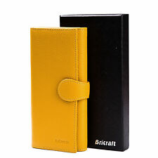 RFID Blocking Travel Wallet Genuine Leather Trifold Yellow Purse Wholesale Price
