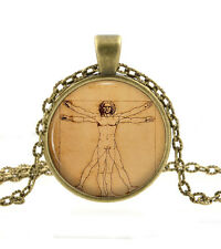 Vitruvian Man Pendant - Leonardo da Vinci Necklace Art - Human Drawing Gift Girl