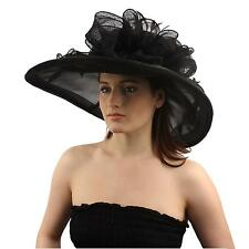 Obtuse Derby Floppy Ruffle Ribbon Bow Floral Feathers Organza Church Hat Black