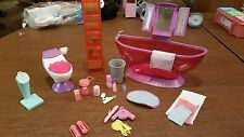 Bathroom Furniture Bathtub Floor Scale Toilet Shelf Unit Access for Barbie Doll