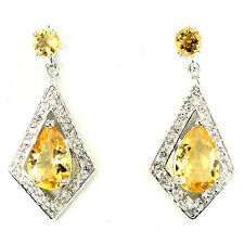 Sterling Silver 925 Genuine Natural Pear Cut Golden Citrine Dangle Earrings