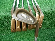 USED RH PING BERYLLIUM COPPER EYE 2 PLUS 3-9 IRON SET BLACK DOT STIFF FLEX RH