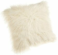 18-Inch Mongolian Faux Fur Pillow White Fluffy Bedding Throw Pillow