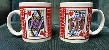 Set (2) Mugs King & Queen of Hearts Playing Cards Poker 9 oz. China Pottery