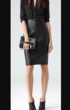 Reiss Shannon Leather Skirt In Black Uk 10 Us 6 Euc