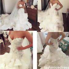 Mermaid Lace Organza Long Train Bridal Gown Beaded V-Neck Garden Wedding Dress