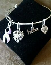 Expandable Bangle Charm Bracelet  Epilepsy Awareness Lavender Ribbon