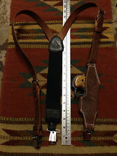 Western Style Brown Leather Suspenders w Derringer Holster Classic Old West Styl