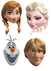 Frozen Official Anna Elsa Olaf Kristoff Disney 2D Card Party Face Masks - 4 Pack