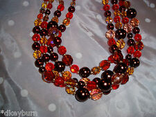 NIB  JOAN RIVERS 4 Strand Gold, Orange, Browns, Crystal & Faux Pearl Necklace