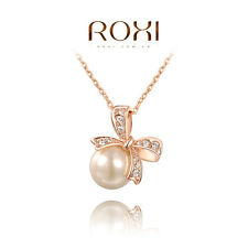 ROXI Pearl Jewelry Big Pearl Pendant Necklace Bowknot Necklace Gold Fashion BH