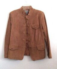 Kate Hill Leather Jacket Brown Women's Medium M 8 Coat Button Down Classic Suit