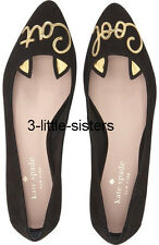 NEW Kate Spade New York Elektra Black Cool Cat Eared Ballet Flats 10 NIB Shoes