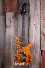 Luna TAT 30 Tattoo 4 String Electric Bass Guitar 30 Inch Scale Satin Natural