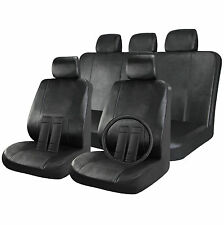 Faux Leather Full Set Car Seat Cover Solid Black 17pc w/Wheel-Belt-Head Covers
