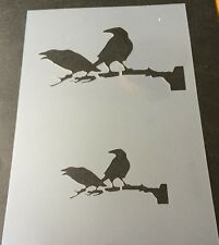 Crows on branch Halloween Mylar Reusable Stencil Airbrush Painting Art Craft DIY
