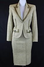 Valentino Tan Green Skirt Suit Size 4